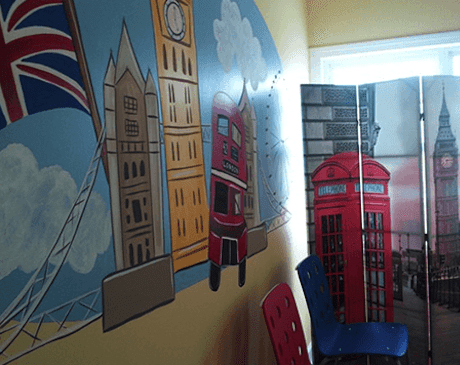 A british-themed exam room.