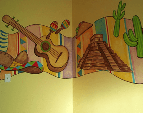 A Mexican-themed exam room