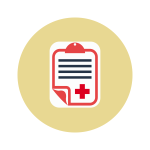 An illustration of a clip-board with a red cross on it.