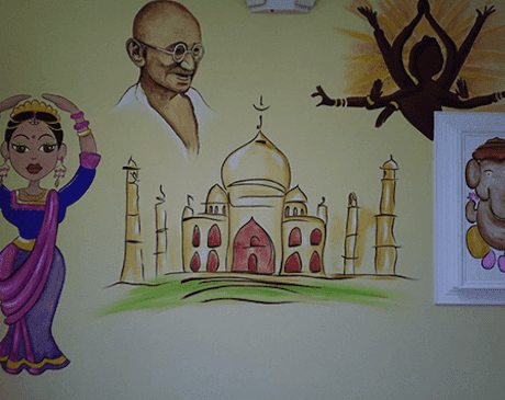 An Indian-themed exam room.